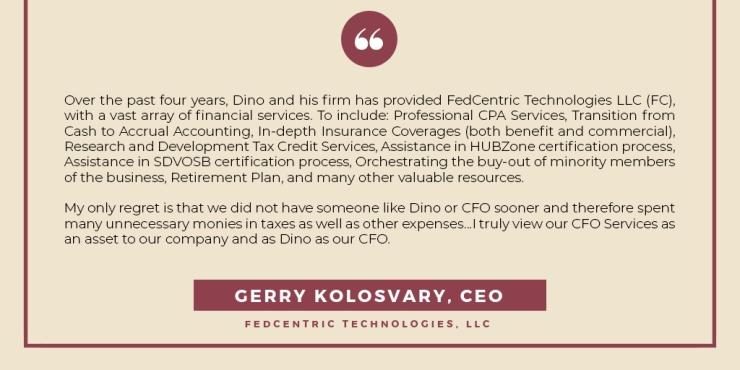 Gerry Kolosvary, Testimonial